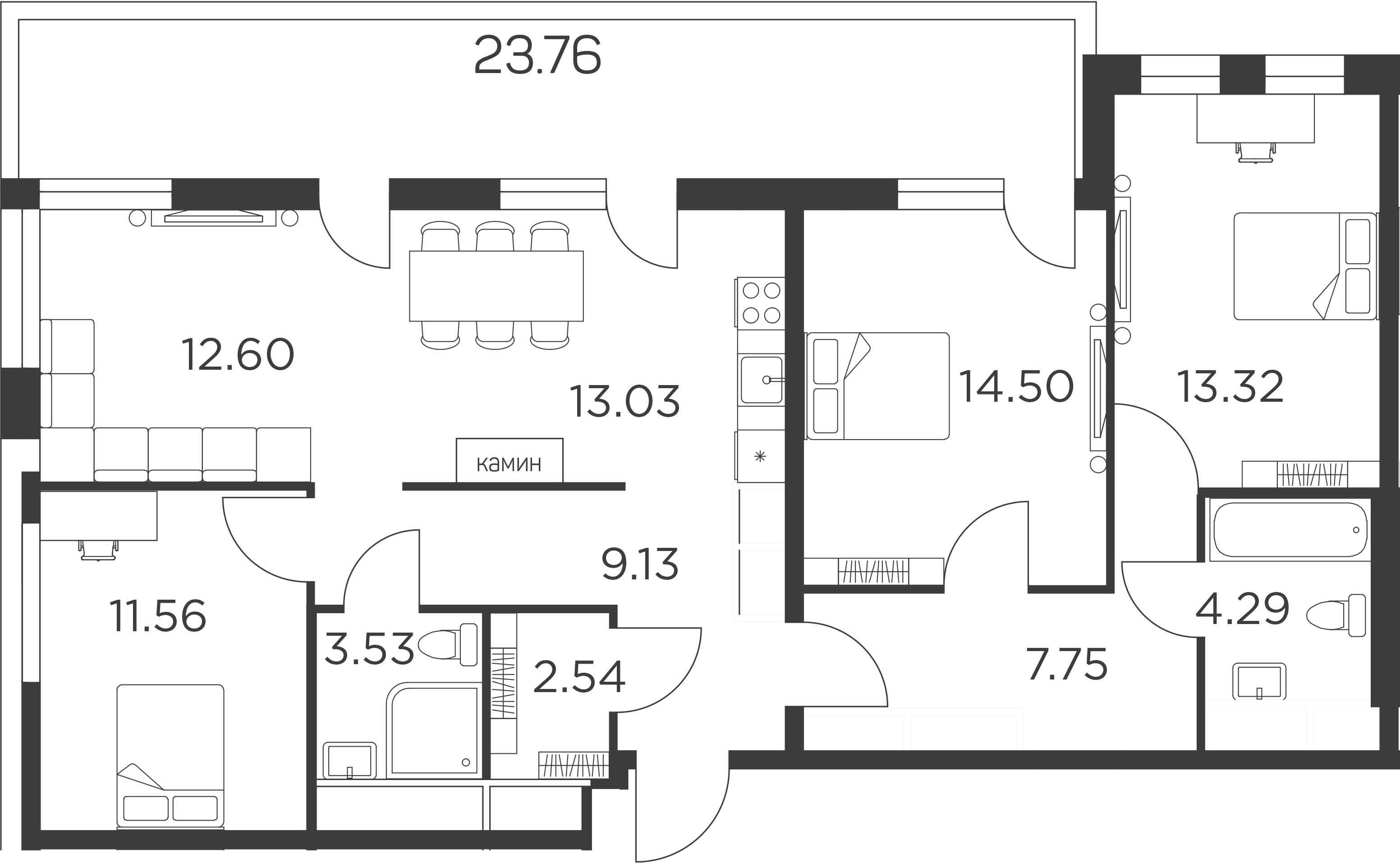 4Е-комнатная, 104.1 м²– 2