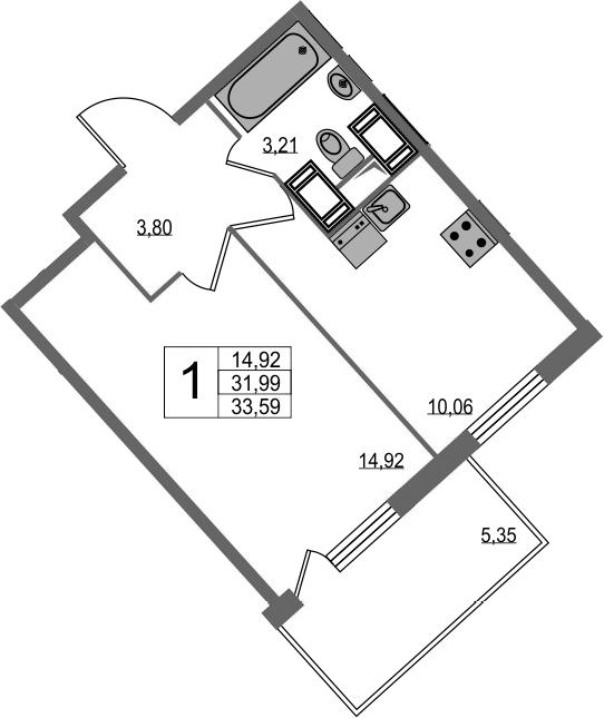 1-комнатная, 33.59 м²– 2