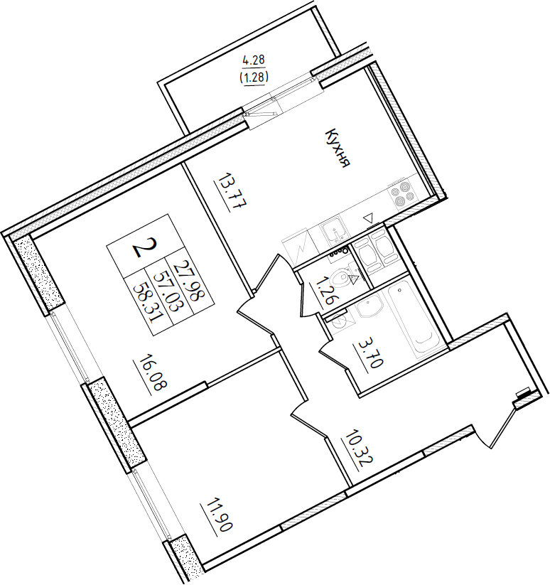 2-комнатная, 58.31 м²– 2