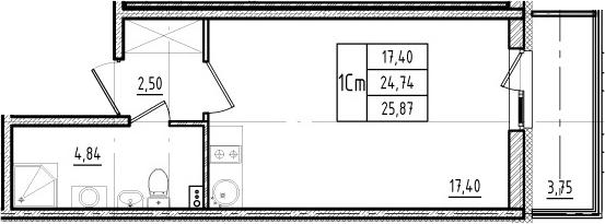 Студия, 24.74 м²