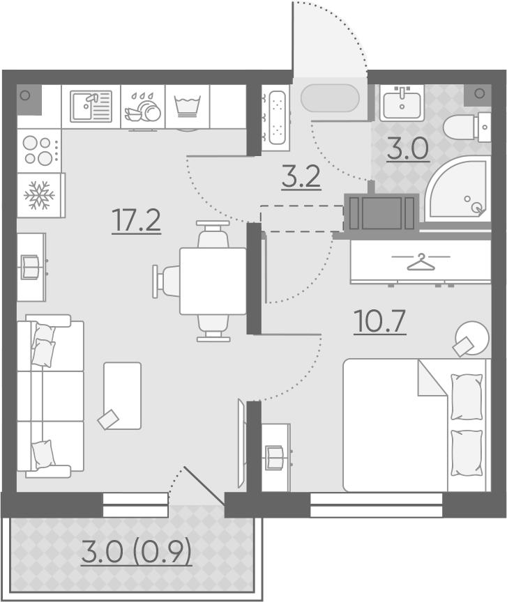 2Е-к.кв, 35 м², от 3 этажа