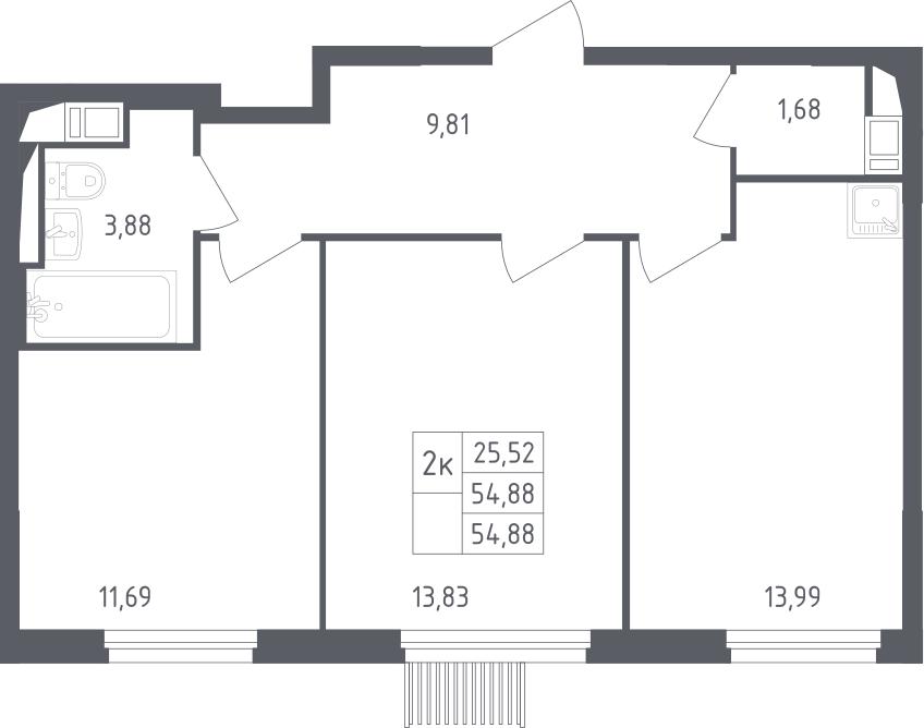 2-комнатная, 54.88 м²– 2