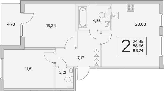 3Е-комнатная, 63.74 м²– 2