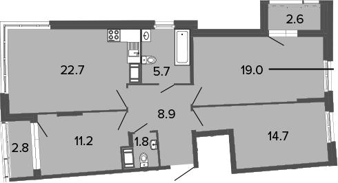 3-к.кв, 84 м², от 13 этажа