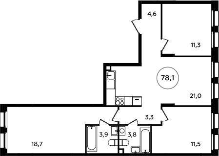 4Е-к.кв, 78.1 м²