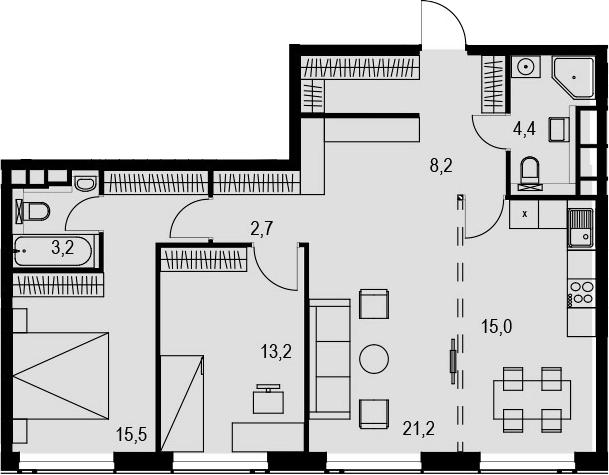 4Е-к.кв, 83.4 м², 27 этаж