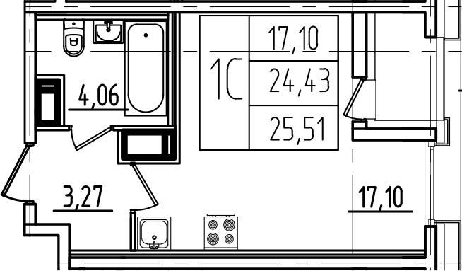 Студия, 25.51 м²