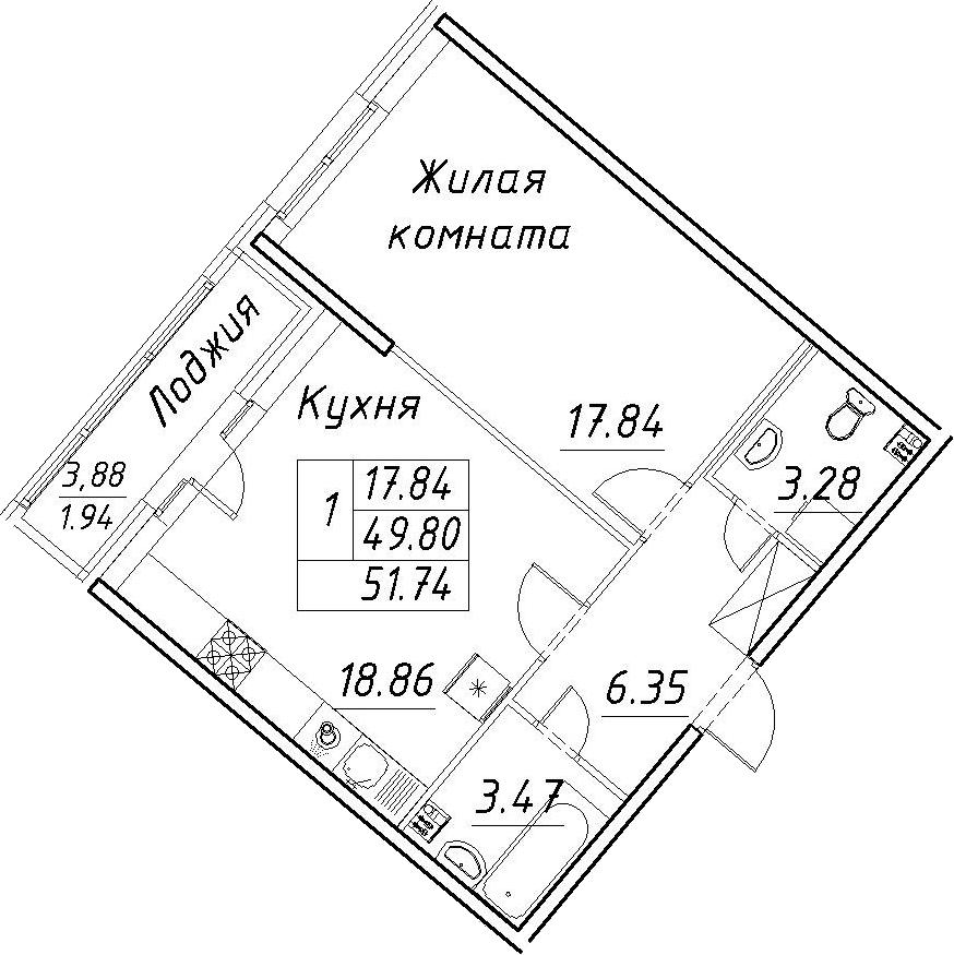 2-к.кв (евро), 53.68 м²