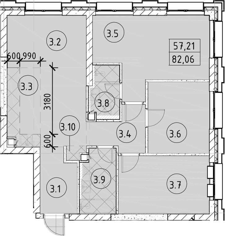4Е-комнатная, 82.06 м²– 2