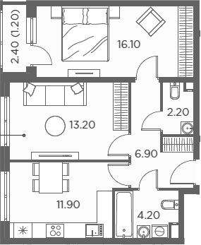 2-к.кв, 55.7 м²