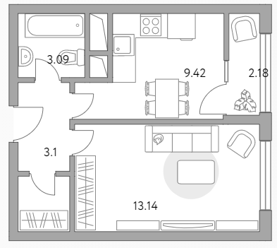 1-к.кв, 32.94 м²