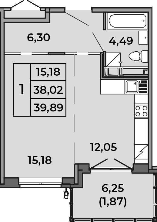 Студия, 38.02 м², от 2 этажа