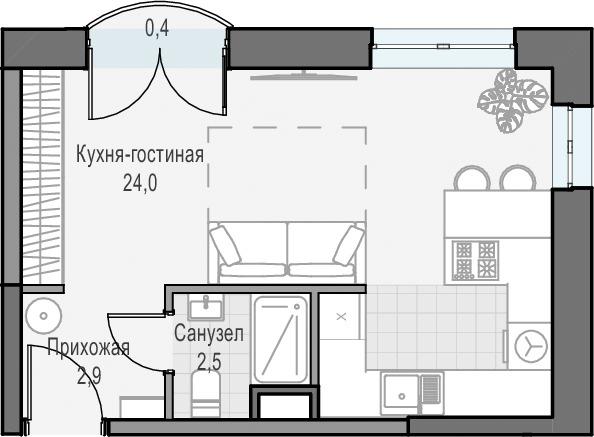 Студия, 29.53 м², 12 этаж