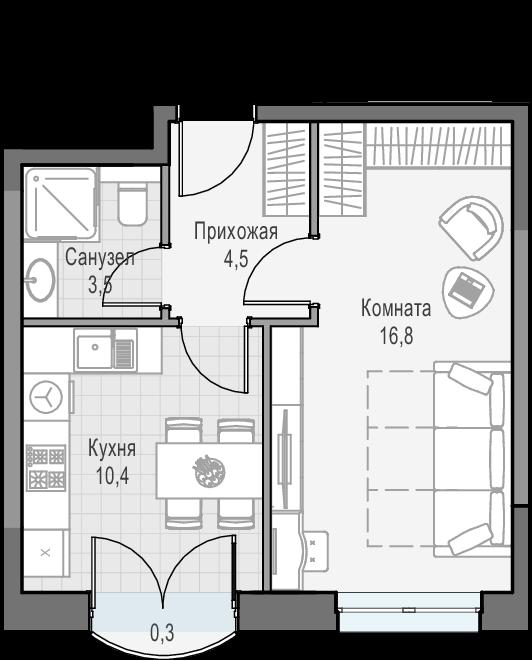 1-к.кв, 35.4 м²