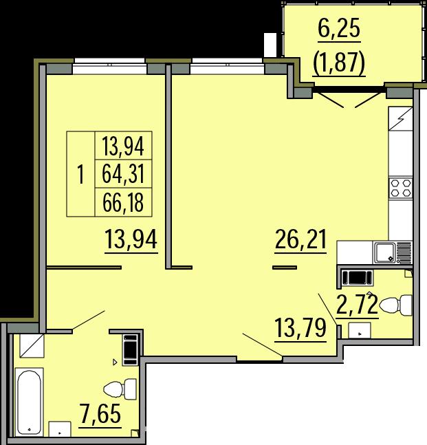 2Е-комнатная, 66.18 м²– 2