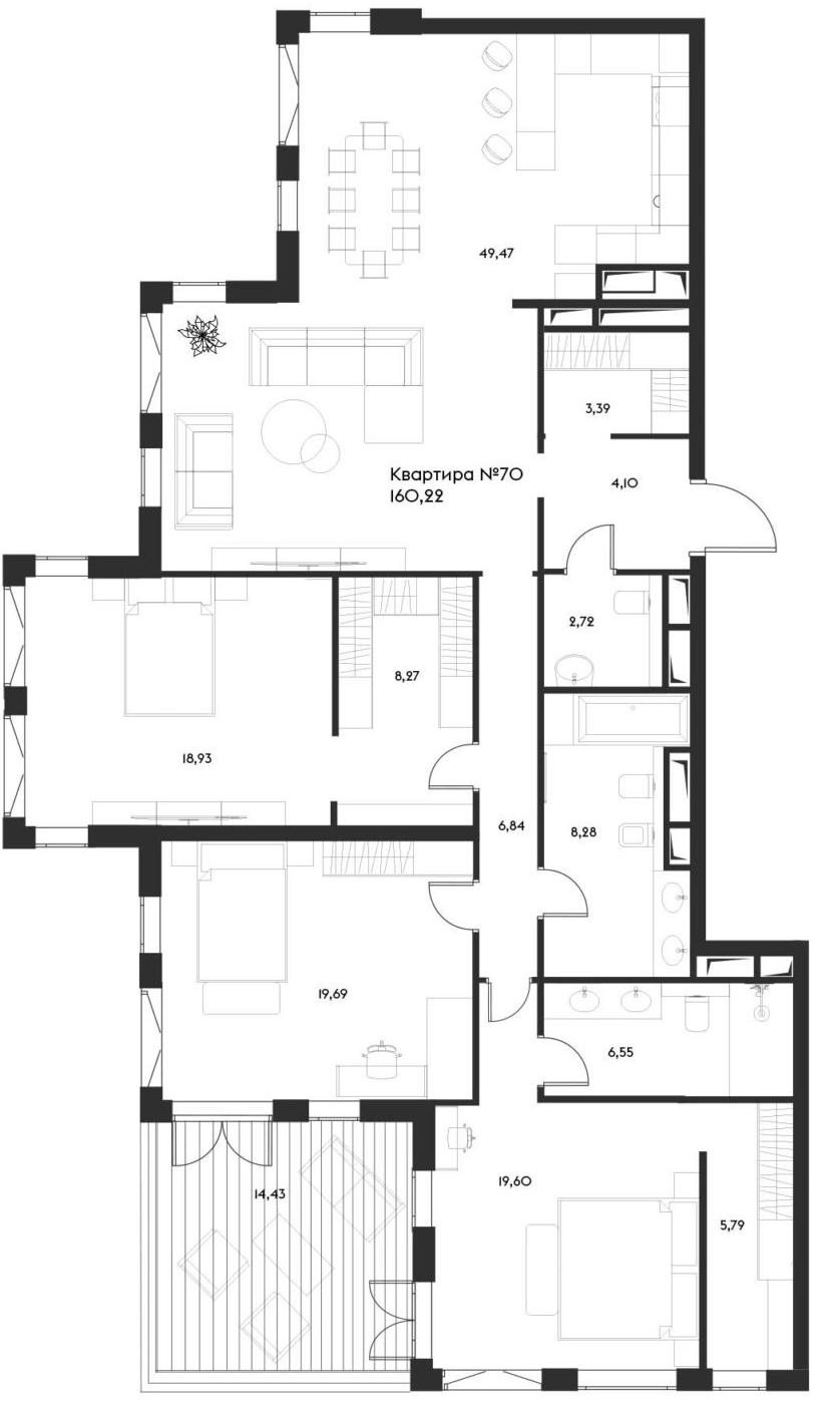 4Е-комнатная, 160.22 м²– 2