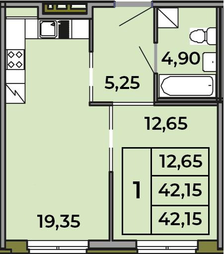 2Е-комнатная квартира, 42.15 м², 1 этаж – Планировка