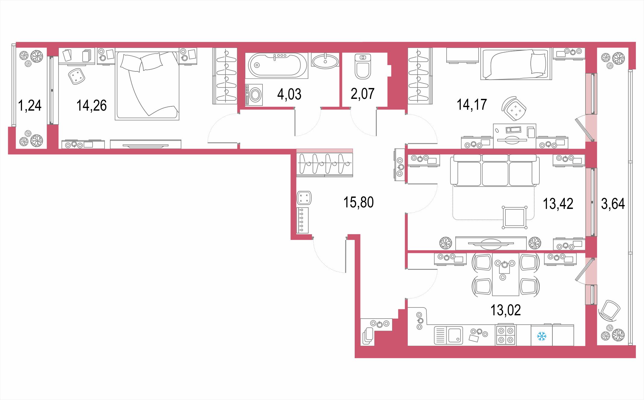 3-к.кв, 86.53 м²