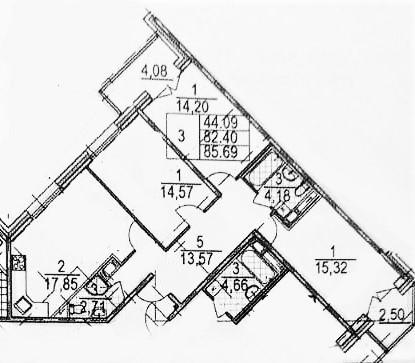 4Е-к.кв, 85.69 м²