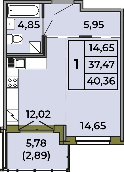 Студия, 37.47 м², 1 этаж