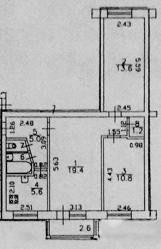3-к.кв, 61.2 м²