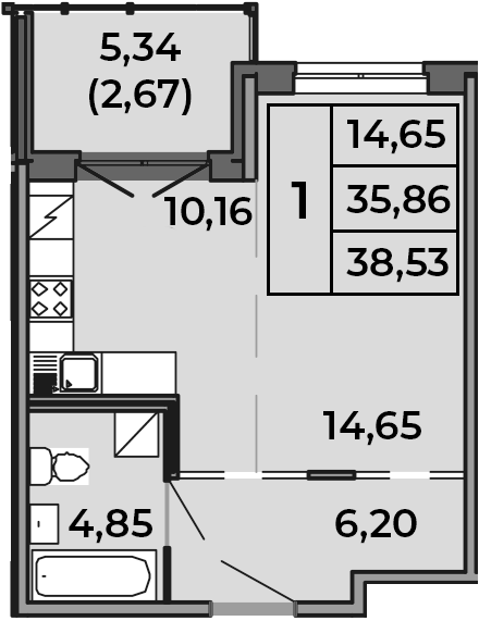Студия, 35.86 м²– 2