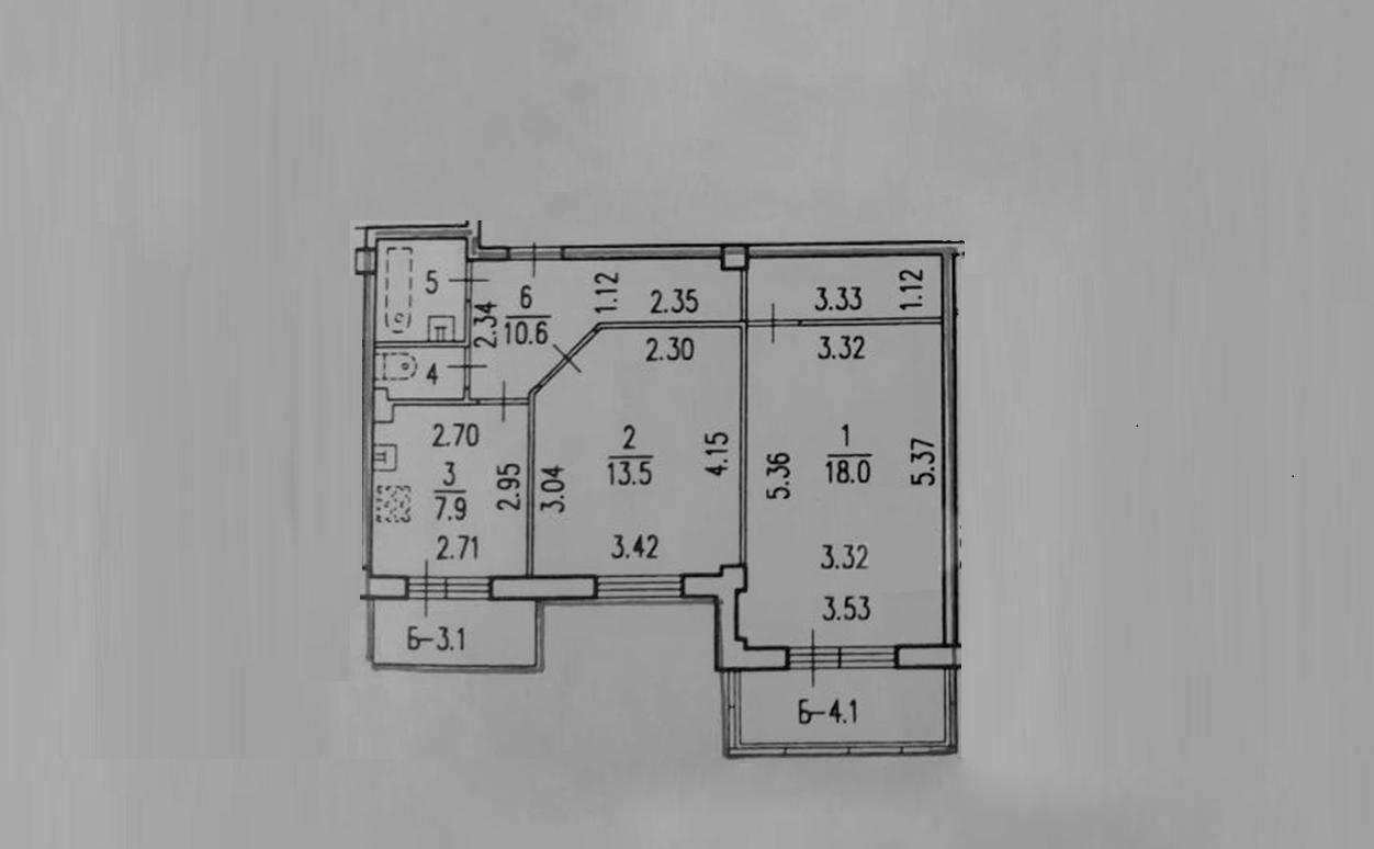 2-к.кв, 64.73 м²