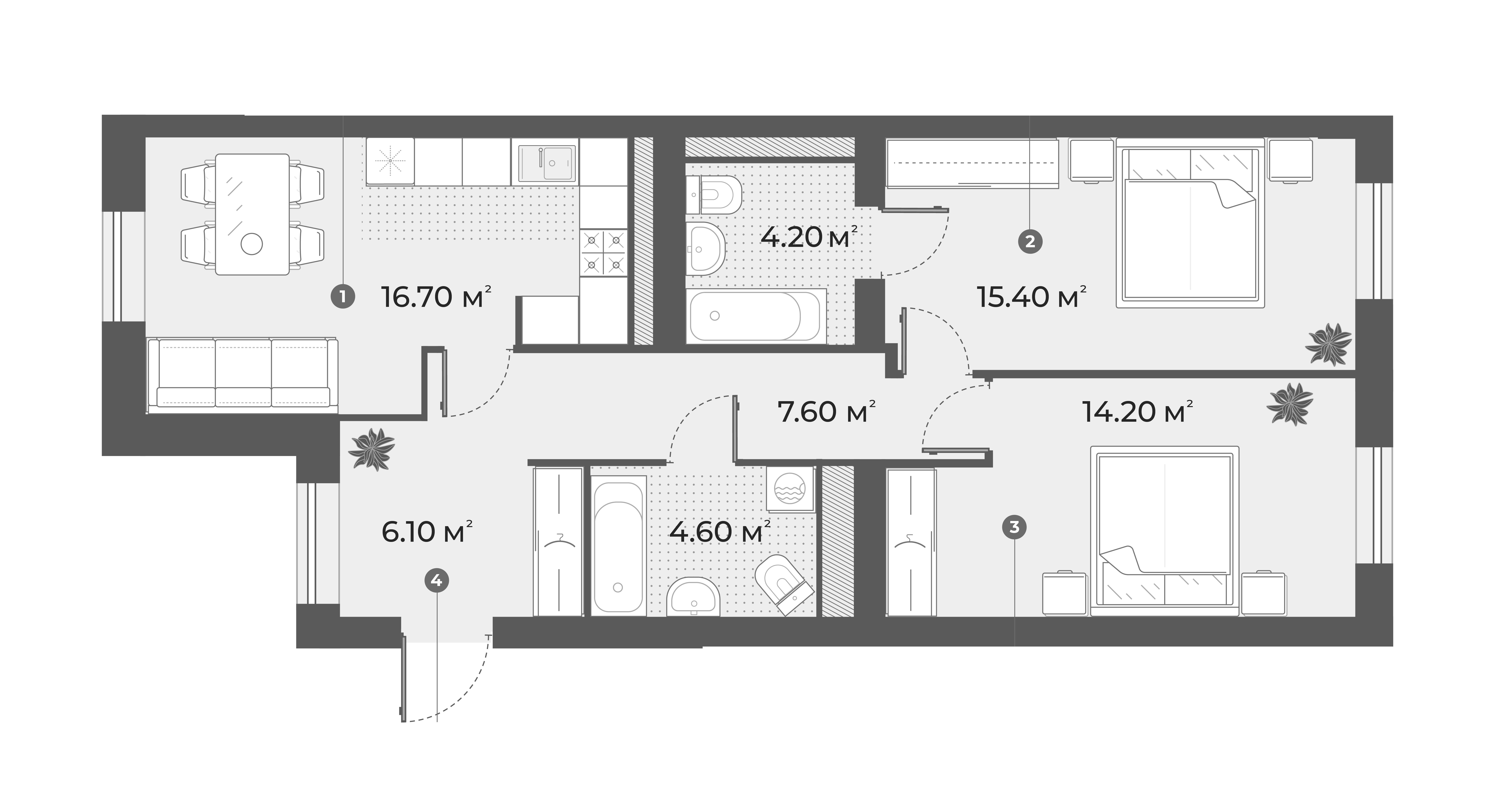 3Е-к.кв, 68.8 м², 5 этаж
