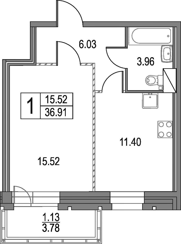 1-к.кв, 36.91 м²
