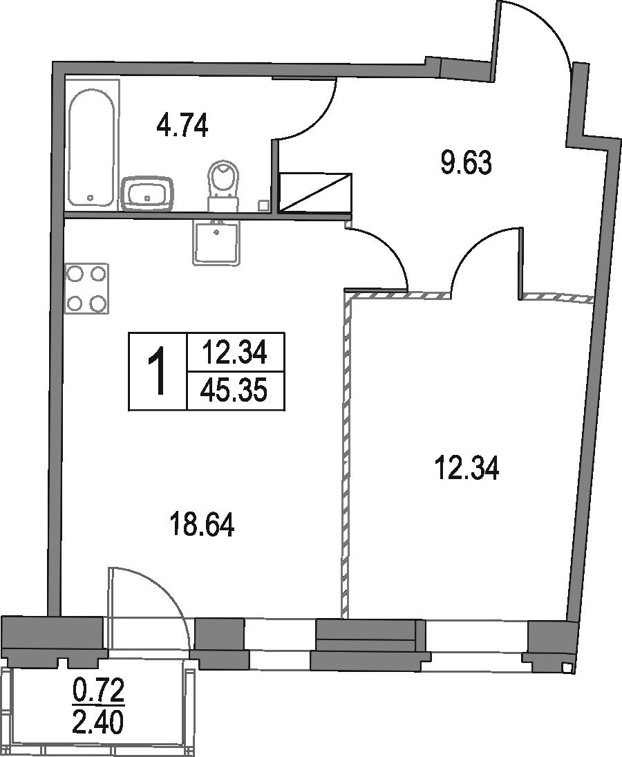 2Е-к.кв, 45.35 м²