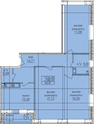 3-к.кв, 90.11 м²