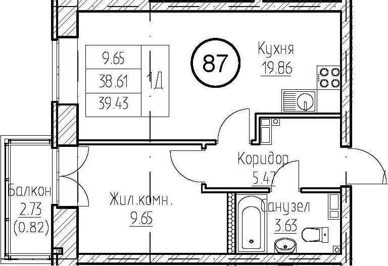 1-к.кв, 39.43 м², 4 этаж