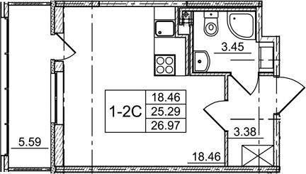 Студия, 30.88 м²