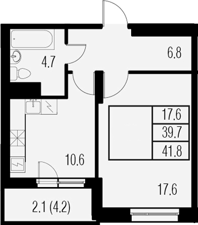 1-к.кв, 43.9 м²