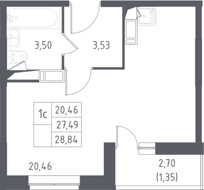 Студия, 28.84 м²– 2