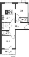 3Е-к.кв, 57.6 м²
