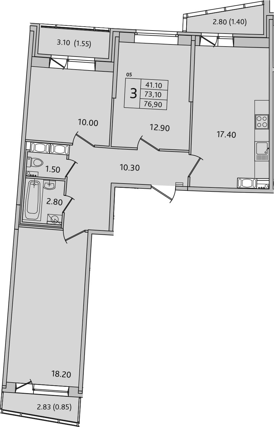 4Е-к.кв, 76.9 м², 3 этаж