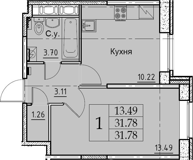 1-к.кв, 31.78 м², 1 этаж