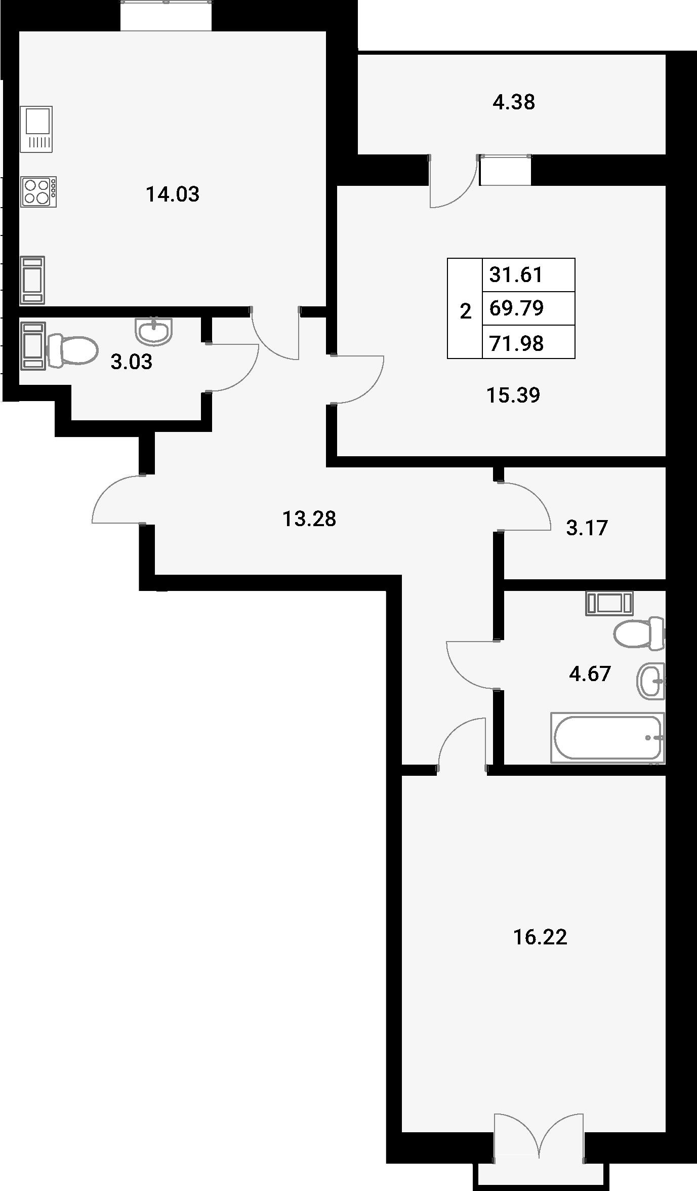 2-к.кв, 75.69 м²