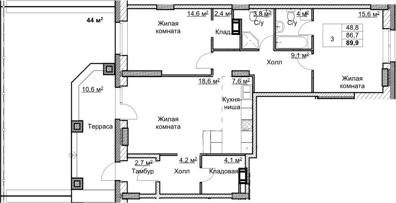 3Е-комнатная, 89.9 м²– 2