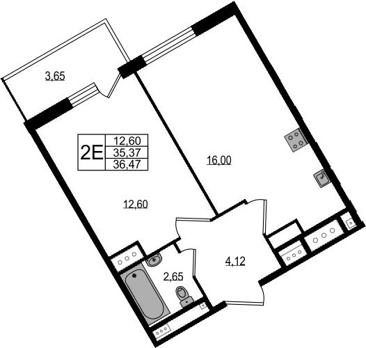 2-к.кв (евро), 39.02 м²