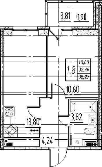 2Е-к.кв, 32.46 м²