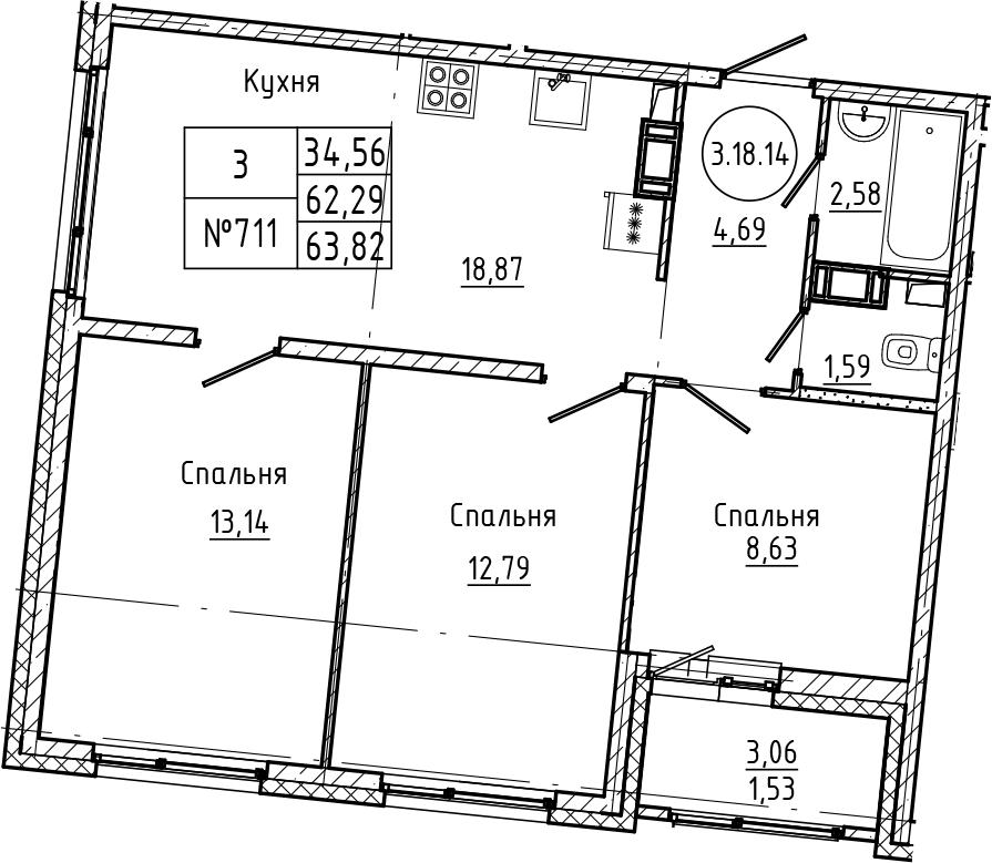 4Е-комнатная квартира, 63.82 м², 18 этаж – Планировка