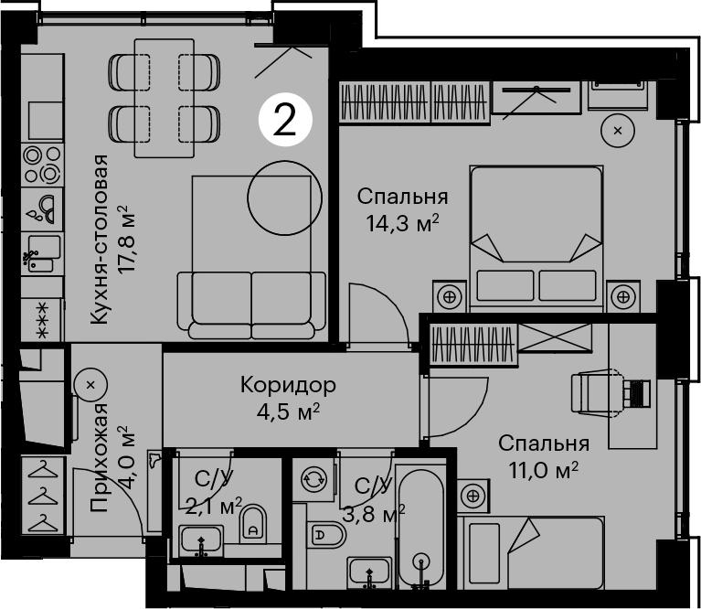 3Е-комнатная, 57.8 м²– 2