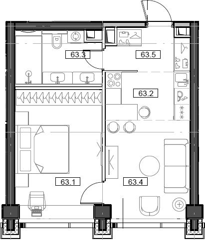 2Е-комнатная, 42.77 м²– 2
