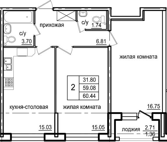2-к.кв, 60.44 м²