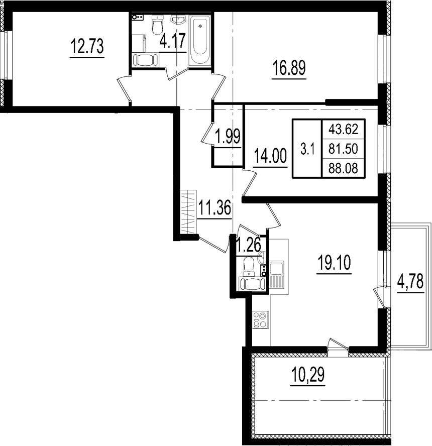 4-к.кв (евро), 96.57 м²