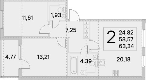 3Е-комнатная, 63.34 м²– 2