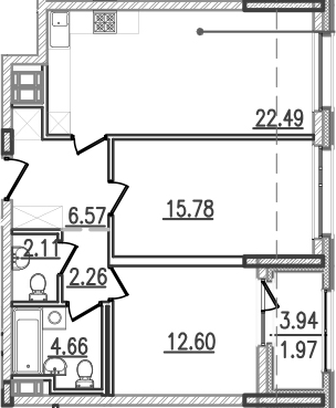 3-к.кв (евро), 70.41 м²