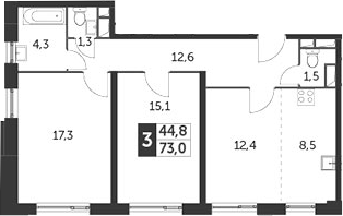 3-к.кв (евро), 73 м²